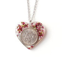 1965 Sixpence Flower Necklace, Lucky Sixpence 6d Coin Resin Heart Pendant, 50th Birthday, Coin Jewelry, Resin Jewelry, Heather,UK (1810)