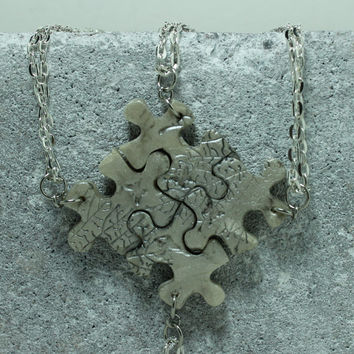 Puzzle Necklace Bridesmaid Best Friend Jewelry Set of 4 Necklaces Pearl Polymer Clay Love Always
