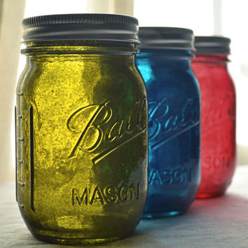 Stained Glass Mason Jars  Set of 3  Olive by willowfairedecor