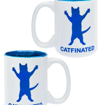 Catfinated Coffee Mug: Purrrk up with a coffee mug featuring an excited cat.
