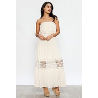 Strapless Maxi Dress with Lace Detail - Ivory