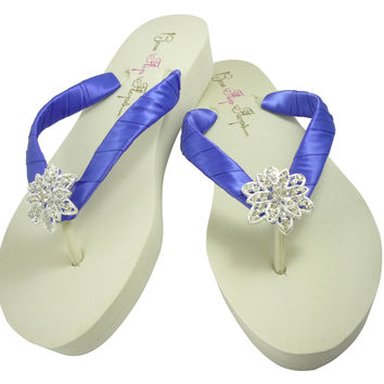 Vintage Flower Jewel & Periwinkle Purple Wedding Wedged Flip Flops
