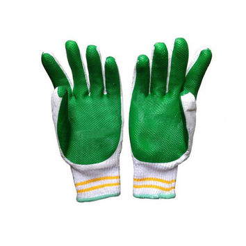 one pair Work Universal Protection Cotton Yarn Glue Thick Gloves 25cm  green