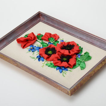 Handmade wall picture with satin ribbon embroidery volume red poppies