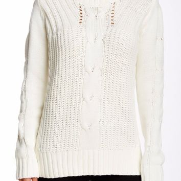Zip Cable Knit Ivory Sweater size M-L