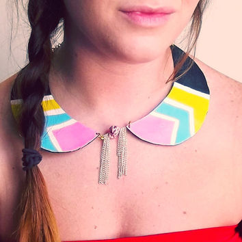 Neon Chevron Peter Pan Collar by Beatniq on Etsy
