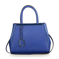 Leather Handheld Tote Bag With Detachable & Adjustable Strap-Blue from KissBags