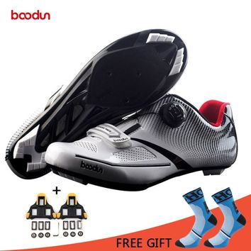 Boodun Road Cycling Shoes Men Pro Wear-Resisting Microfiber Breathable Bike Shoes Athletic Self-locking Bicycle Shoes Chaussure
