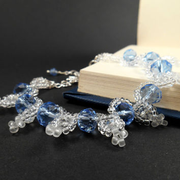 Blue Glass Crystal Bracelet Bridal Jewelry Glass Crystal Jewelry Glass Bead Glass Crystal Beadwork Something Blue