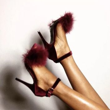 Hot sale fashion high heel wool sandals trend pure color high heels