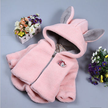 2016 fall baby girl clothing jacket Korean cotton cashmere wool sweater coat for cute little baby girls sports outerwear jackets