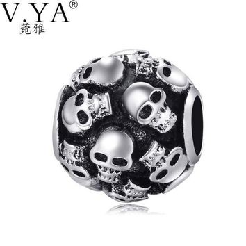 LMFIJ5 Skull Charms Beads fit Pandora Necklace Bracelet for  Man Jewelry DIY Chain with Cool Skull Beads TZ035