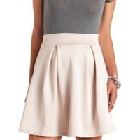 Pleated High-Waisted Skater Skirt by Charlotte Russe - Beige