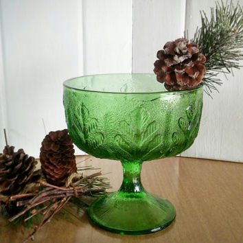 FTD Green Compote Vase, Vintage FTD Green Footed Vase 1978