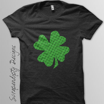 Shamrock Iron on Printable - St. Patricks Day Iron on Transfer / Lucky Nursery Wall Art / DIY Four Leaf Clover Shirt Design / Digital IT157
