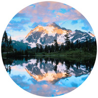 Paul Moore's Mt Shuckson Reflected In Picture Lake, WA Circle wall decal