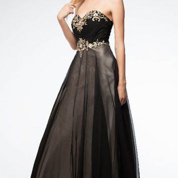 KC14509 Prom Dress Black w/ Gold by Kari Chang Couture