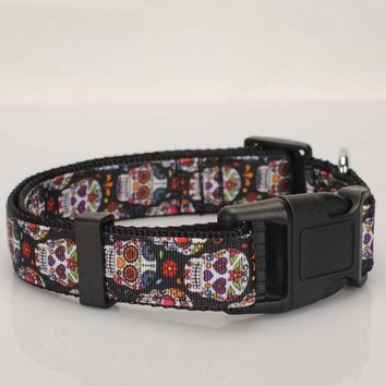 "1""25mm Tattoo Skulls Dog Collar,dog leash,safety belt ,1 inch black Sugar Skulls Dog Collar 2 size avaiable"