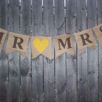 CUSTOM MADE Rustic Burlap Mr and Mrs Yellow Brown Banner Photo Prop Bunting Sign Garland for Country Chic Wedding