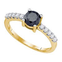 Black Diamond Fashion Ring in 10k Gold 0.99 ctw