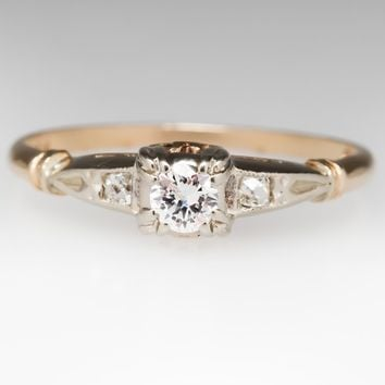 1940's Fidelity Vintage Transitional Cut Diamond Ring 14K