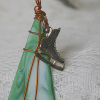 Recycled Green Tumbled Glass Pendant with Ice Skate