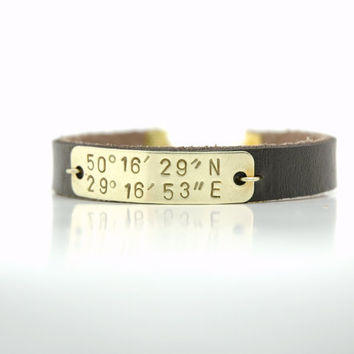 Personalized Hand Stamped  Latitude and Longitude Coordinates  Bracelet  -  Brass Tag Brown Leather Bracelet - Valentine's Day Gift