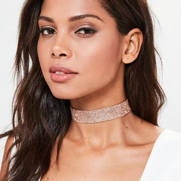 Missguided - Rose Gold Diamante Choker Necklace