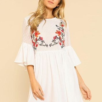 Ruffle Flower Embroidered Smock Dress