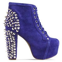 Jeffrey Campbell Lita Spike in Purple Suede Silver at Solestruck.com