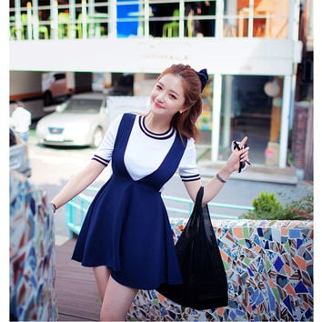 Deep V Neck Pinafore Dress