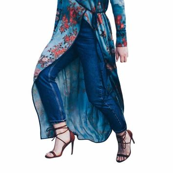feitong womens bohemia floral long kimono oversized shawl tops