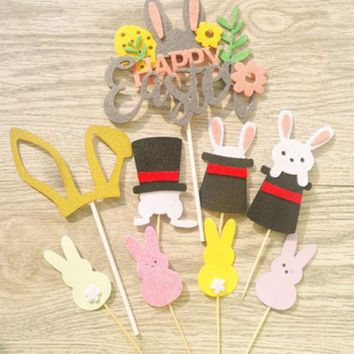 LMFUV2 Easter cake decoration insert easter bunny ears magic hat rabbit dessert table card flag