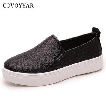 COVOYYAR 2017 Spring Fashion Bling Women Shoes Flat Heel Glitter Causal Slip On Round Toe Solid Loafers Black/Silver WFS127