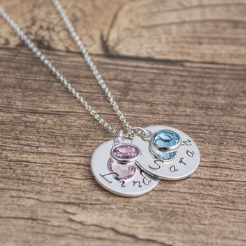 Sterling Silver Name Tag Birthstone Necklace- Handstamped