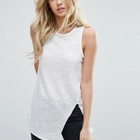 ASOS Sleeveless Linen Tank with Seam Detail at asos.com