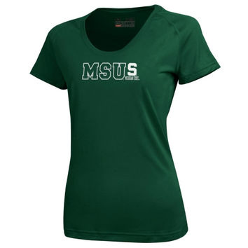 Michigan State Spartans Under Armour Womens Tech Performance T-Shirt – Forest Green