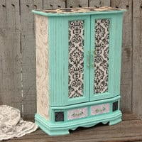 Mint green shabby chic jewelry armoire