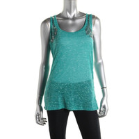 Eye Shadow Womens Juniors Slub Studded Tank Top