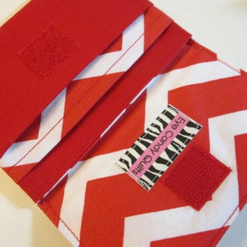 Red and White Chevron wallet, Chevron wallet, Women's wallet, Designer wallet, Fabric wallet, Small wallet, Wallet