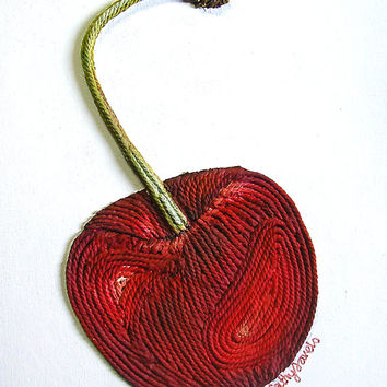 Cherry 3D Painting - Textured Abstract Red Fruit String Wall Art - Made to Order
