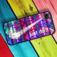 Nike Just Do It on Colorful Aztec Design Case , Nike Case , Just do it Case , Aztec Case : Iphone 4/4s case Iphone 5 case and Galaxy S3