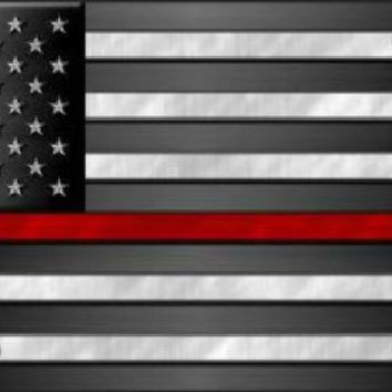 Thin Red Line on American Flag Firefighter Plate Tag