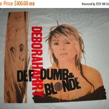 New Year Sale Vintage DEBORAH 1989 Deborah Harry 'Def, Dumb & Blonde' T Shirt Pop Punk New Wave