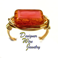 DWJ0326 Stunning Czech Glass Coral Pink Picasso Gold Wire Wrap Ring All Sizes