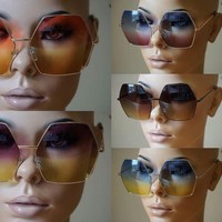 Womens Super Oversized Sunglasses Hexagon Ombre Color Lens Metal Fashion Frame