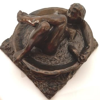 Degas Study of Woman Bathing in Round Tub Statue 5.5L