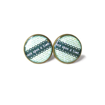 Mint Green with Typographic Book Page Pattern once upon a time... Stud Earrings - Geeky Nerdy Bookworm Pop Culture Book Page Jewelry