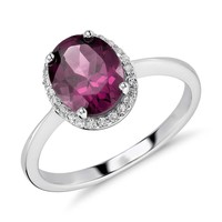 Oval Rhodolite and White Topaz Halo Ring in Sterling Silver | Blue Nile