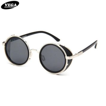 VEGA Leather Steampunk Goggles Black Round Vintage Sunglasses Men Women Circle Gothic Sun Glasses 50s Sunglass Style 2817